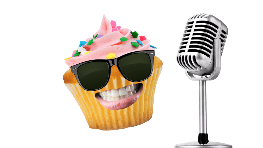 Cupcake with mic