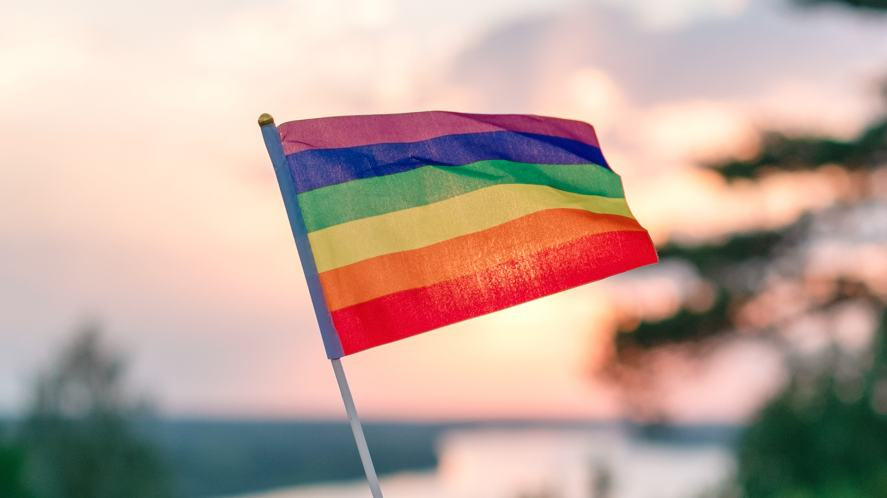 Closeup of a rainbow flag