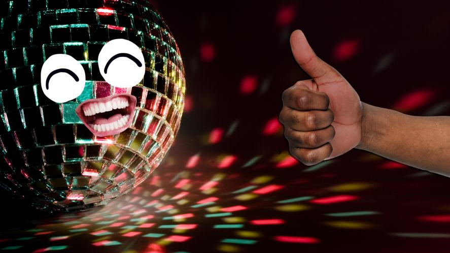 A smiling disco ball