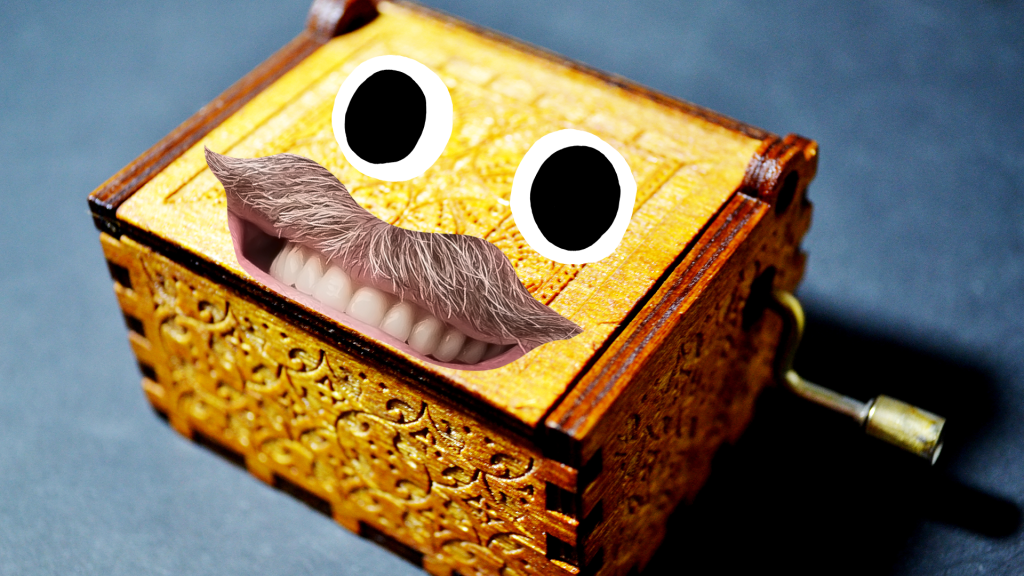 Music box with goofy face