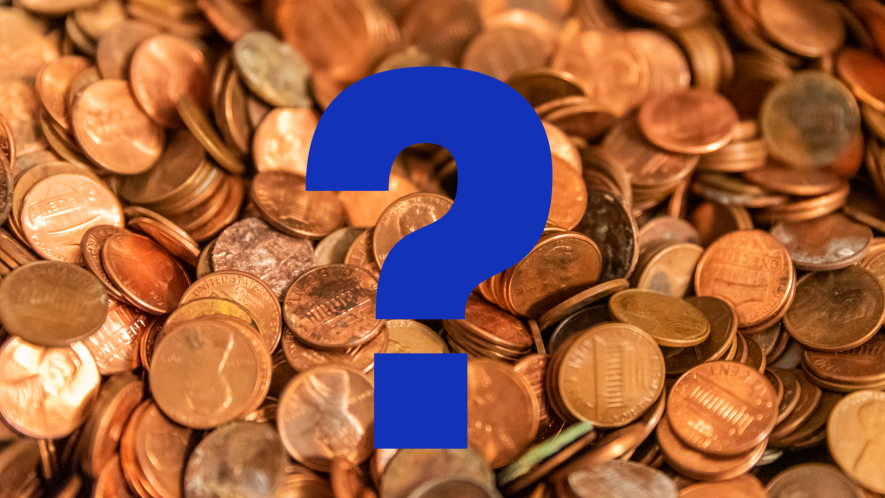 Coins and question mark