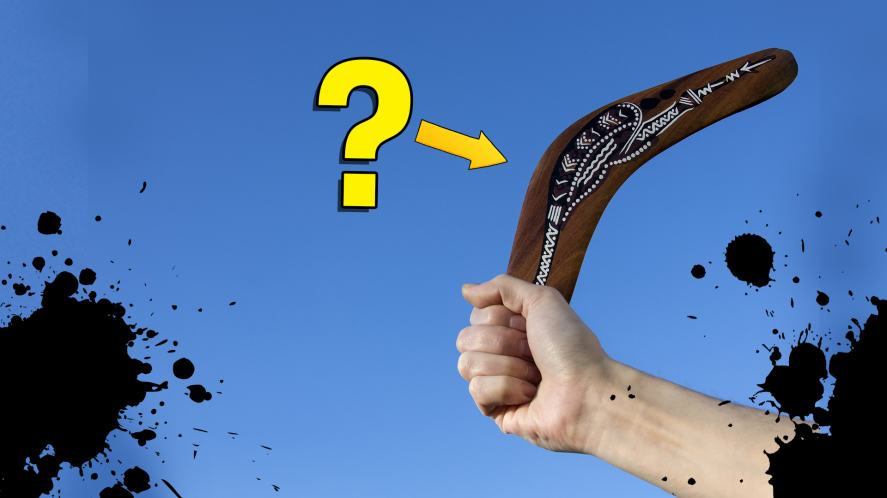 Someone holding a boomerang