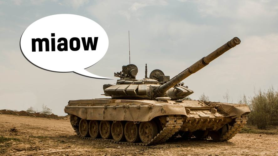"""A tank with a speech bubble that says """"miaow"""""""