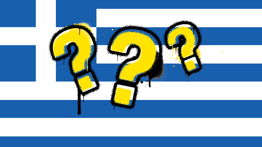 Greek flag with question marks