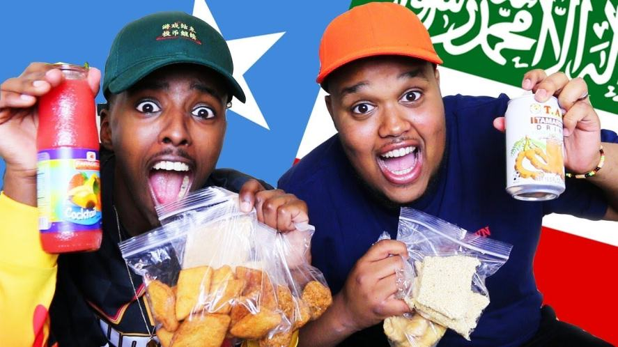 AJ and Chunkz about to eat some Somali snacks