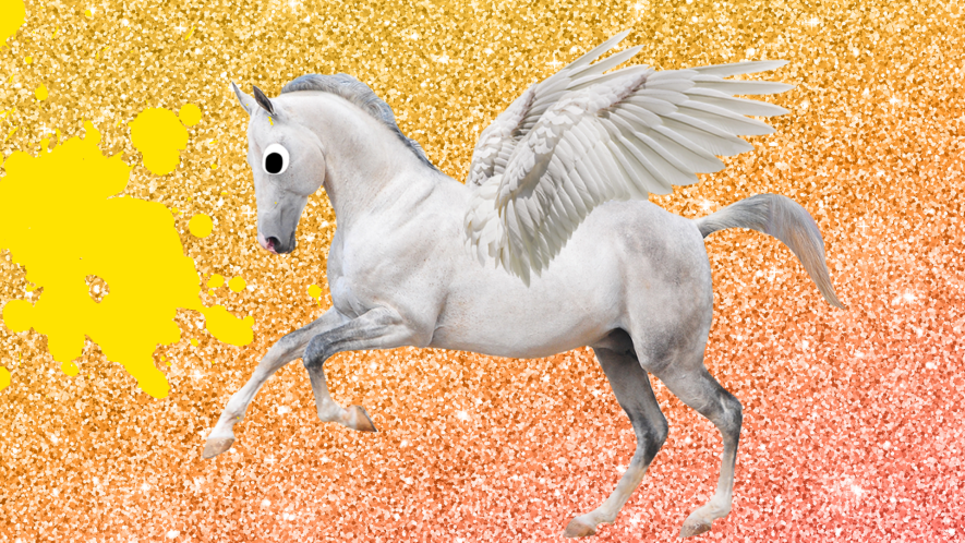 Pegasus on glitter background