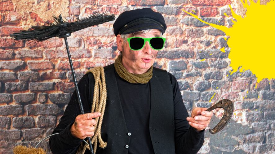 An old-fashioned chimney sweep
