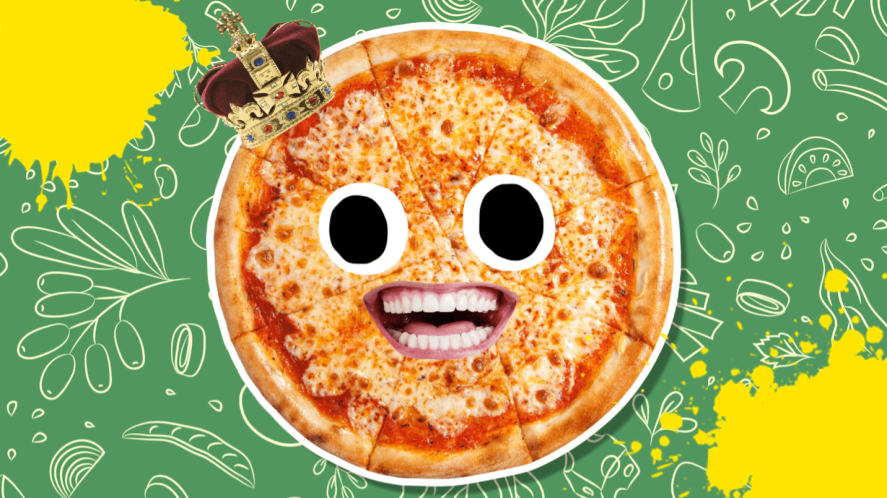 Pizza with eyes and mouth