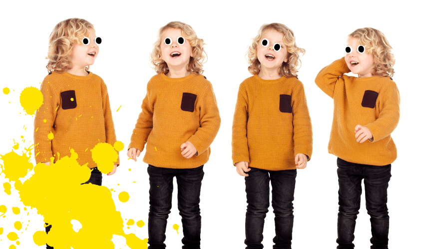 Four identical children on a white background