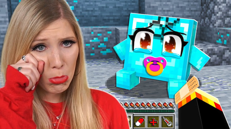 Brianna pretending to weep in front of Minecraft characters