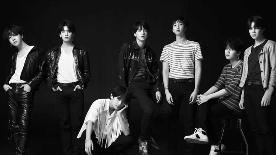 BTS standing around and looking cool
