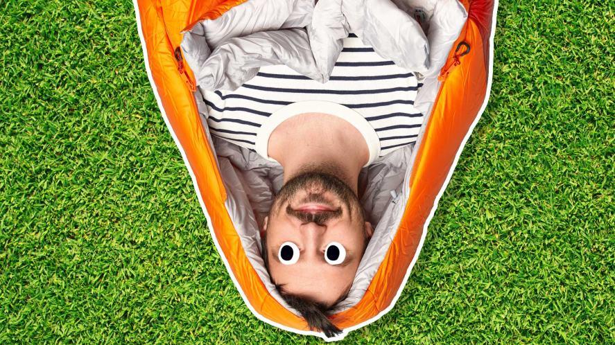 A man in a sleeping bag