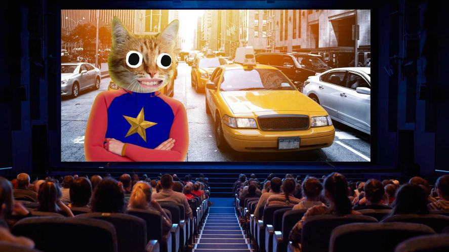 A cinema watching a Marvel style movie