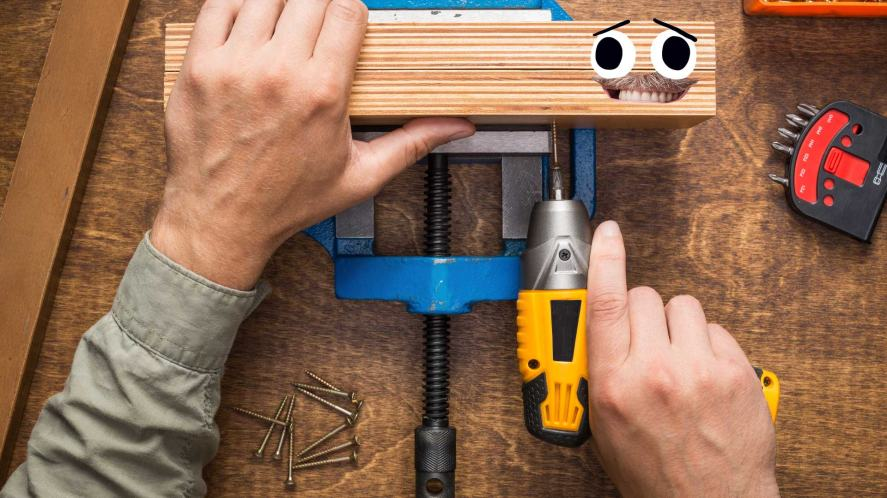 A person using a drill during a DIY project