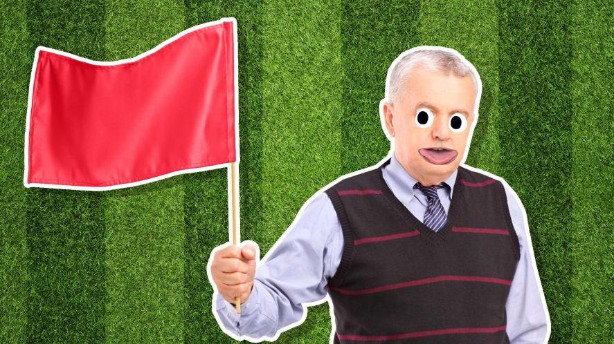 A man waving a flag