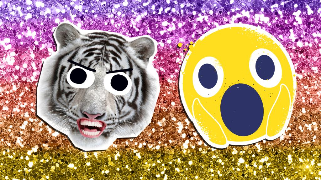 A grinning white tiger and a shocked emoji face