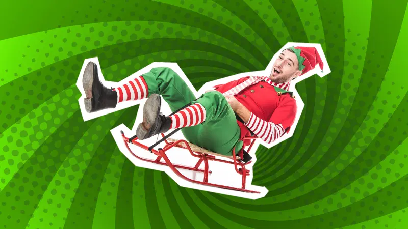 Elf on sleigh