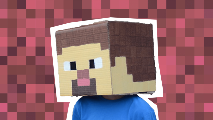 Man with cardboard box on head to look like Minecraft character