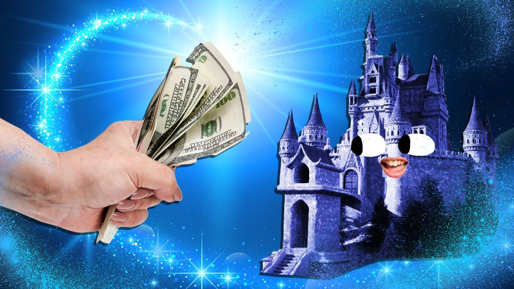 A hand giving loads of money to Disney