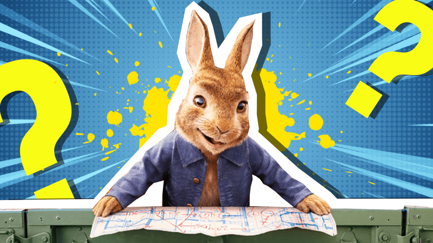 Peter Rabbit looking at a map