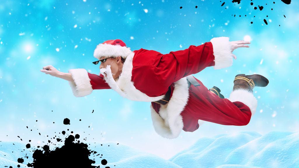 Super Santa flies through the sky