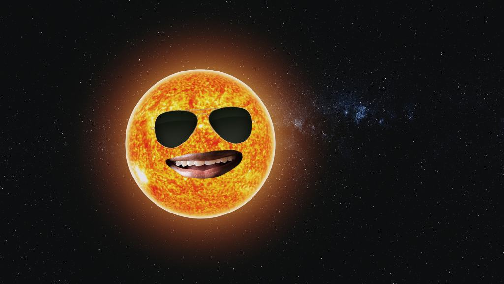 Smiling sun in front of a dark universe background