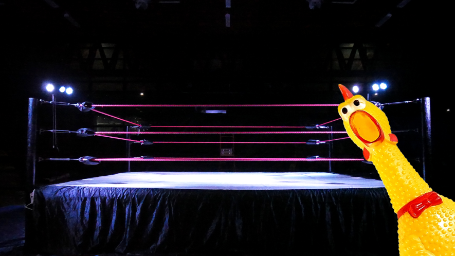 Wrestling ring with rubber chicken