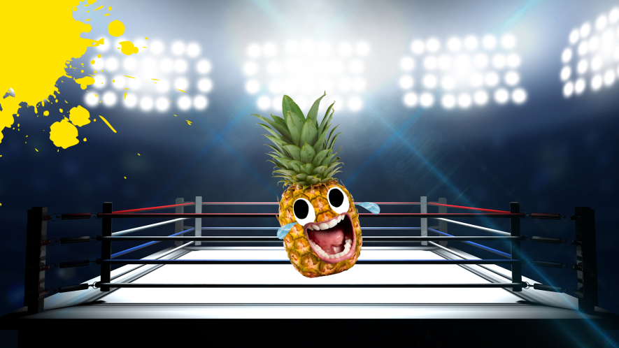 Wrestling ring with pineapple inside