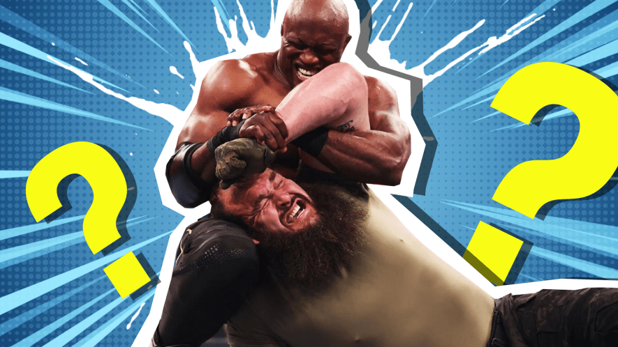 WWE wrestler has another in a headlock
