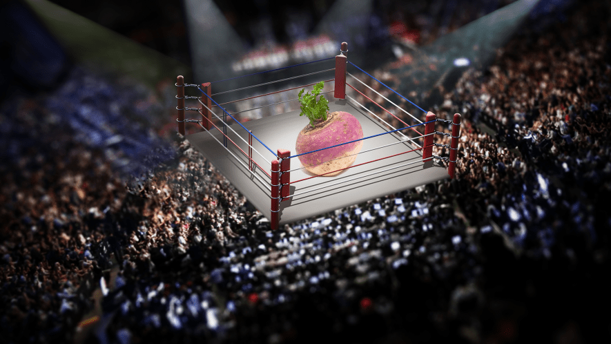 Wrestling ring with comically oversized turnip inside