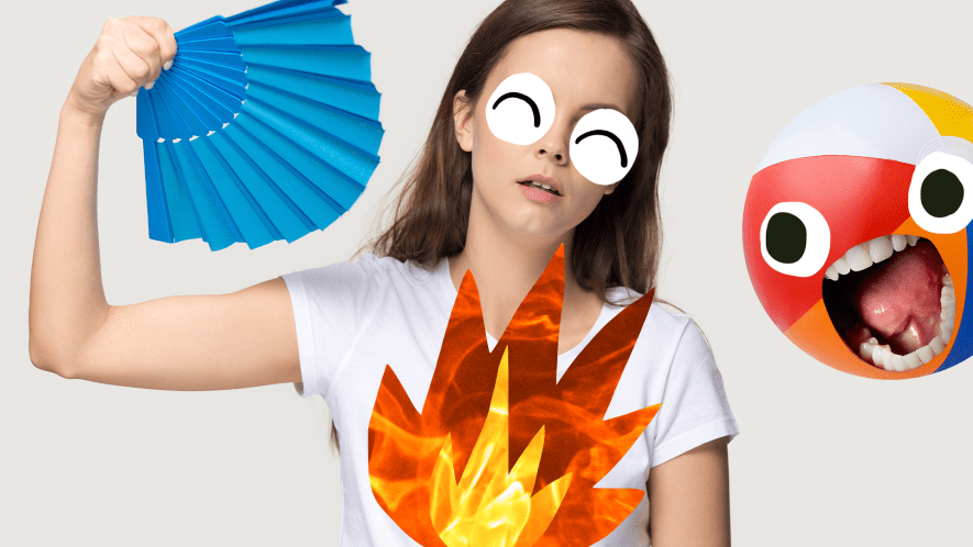 Woman fanning herself on white background with cartoon fire and screaming beachball