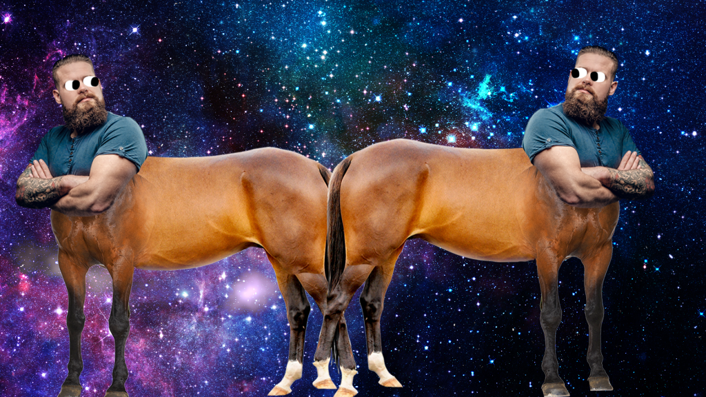 Two centaurs on space background