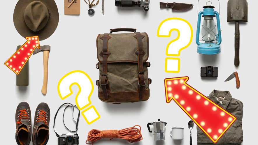 Camping equipment on white background with question mark