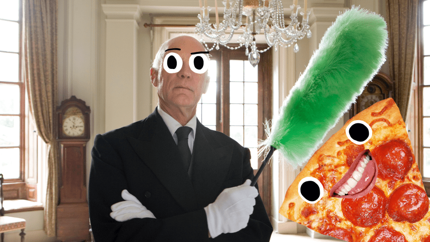 Butler with feather duster in fancy room with derpy pizza slice