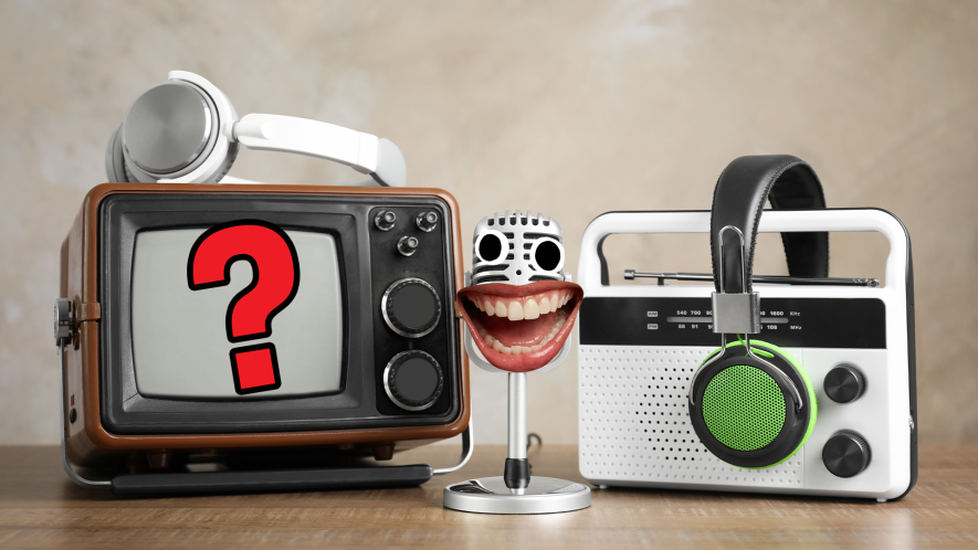 Old headphones, radio and tv with smiley face on microphone