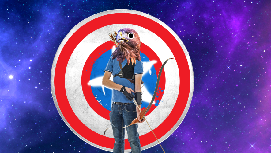 Hawkeye hawk on captain shield and space background