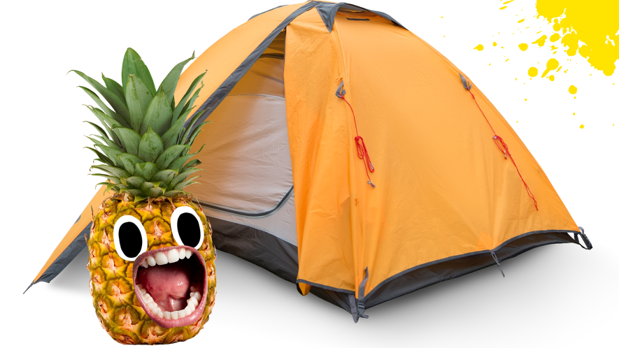 Tent on white background with screaming pineapple