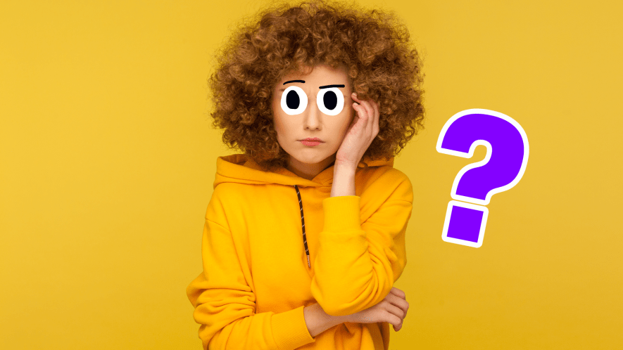 Woman scratching her head on yellow background with blue question mark
