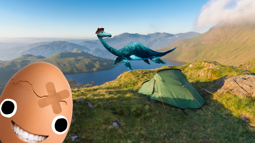Tent on mountain with Beano egg and Nessie