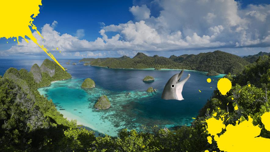 Papua New Guinea scene with yellow splats and Beano dolphin head