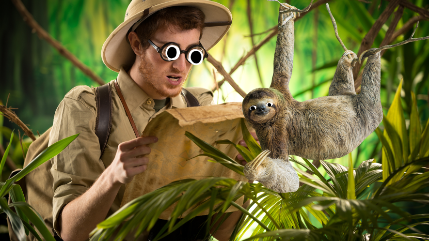 Man in jungle reading map with Beano sloth
