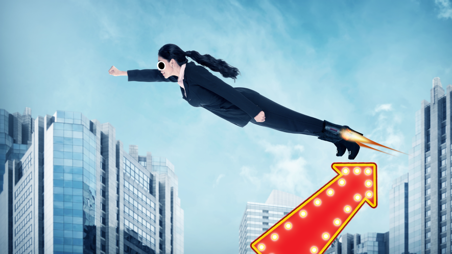 Woman with rocket shoes flying over city with arrow