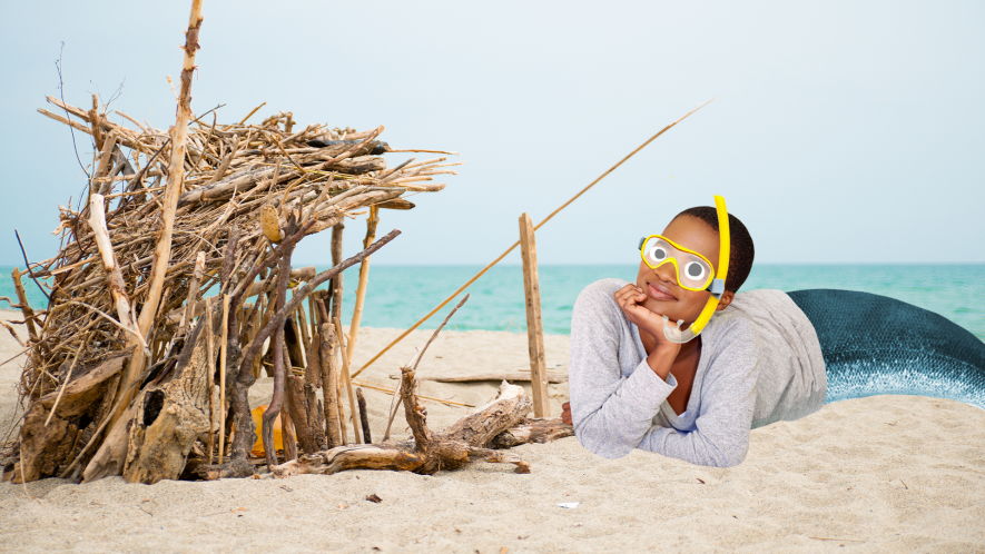 Stick shelter on beach with mermaid