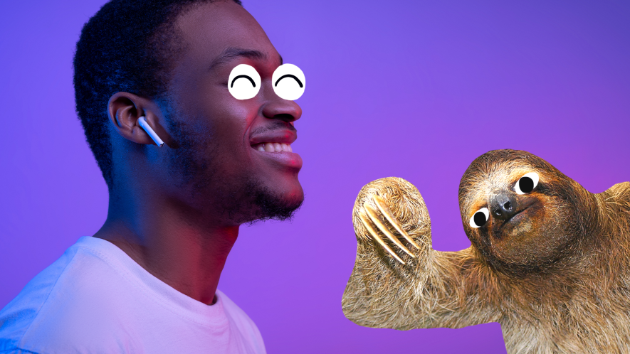 Man with airpods on purple background with derpy sloth