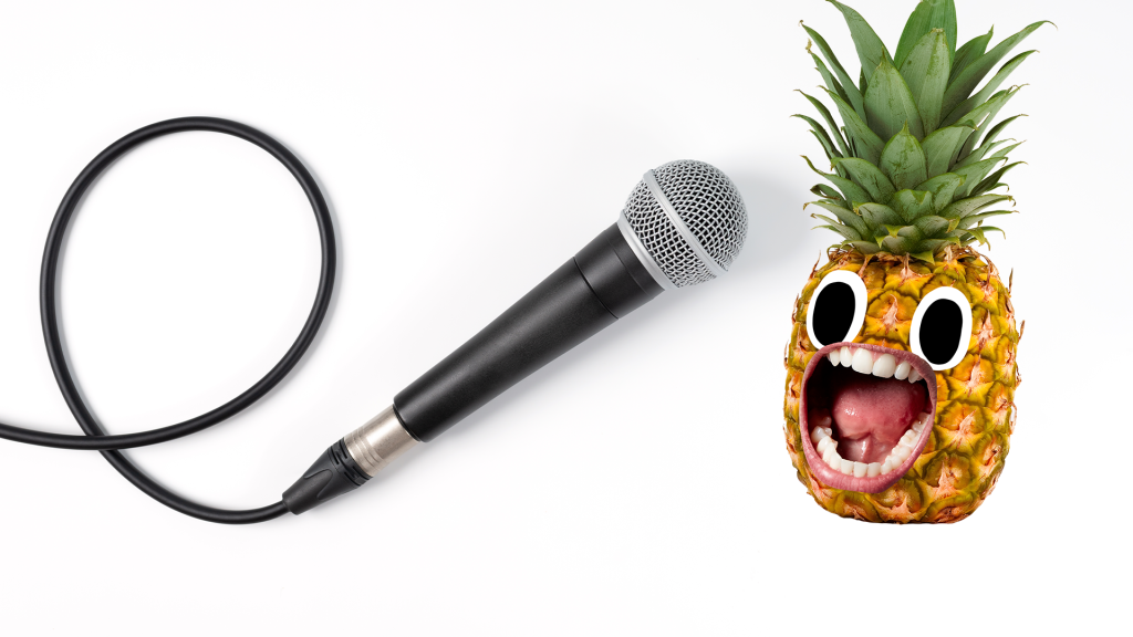 Screaming pineapple with microphone on white background