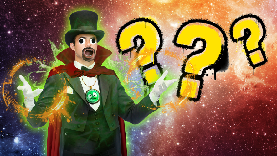 Dr strange and question marks on space background