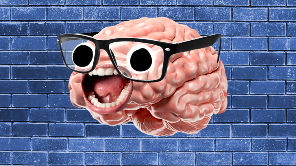 Brain with face on blue brick background