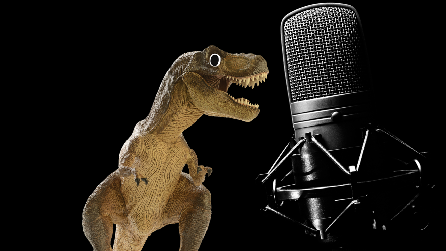 Dinosaur and microphone on black background