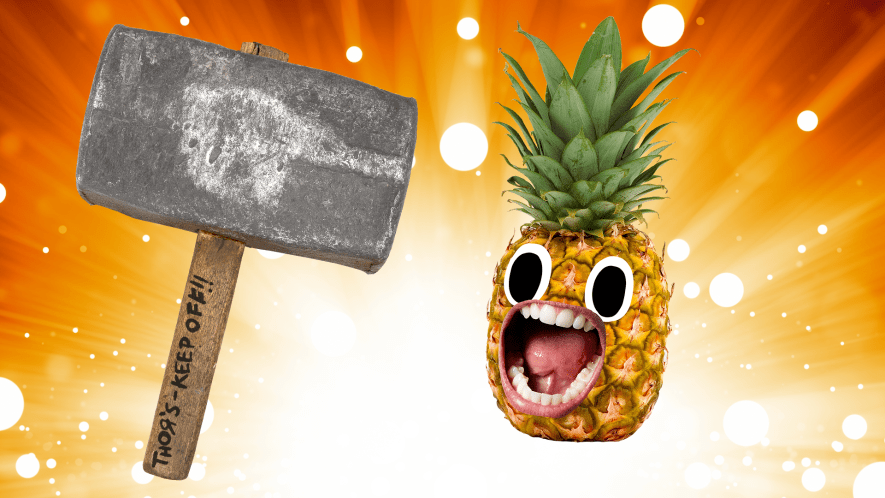 Thor's hammer and screaming pineapple on sparkle background