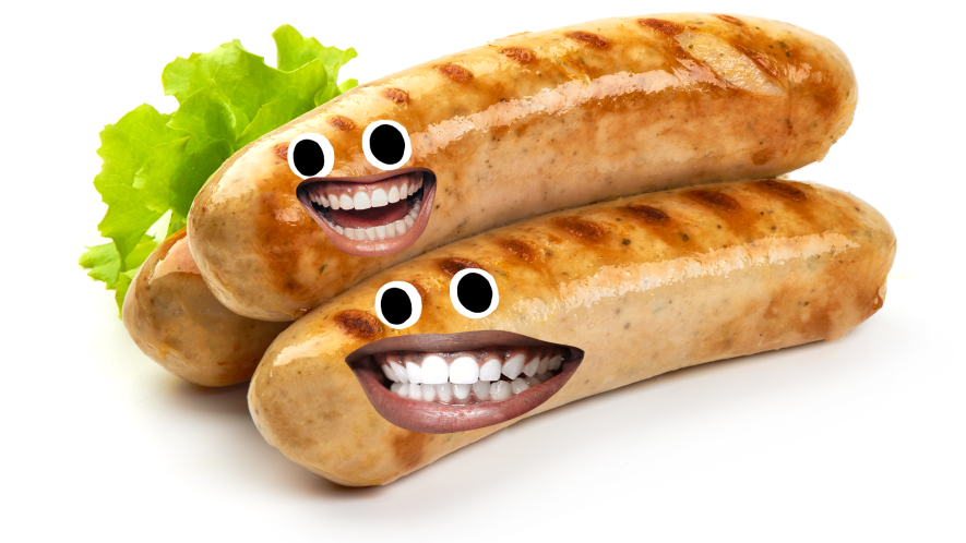 Pile of sausages with faces on white background